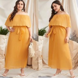 Plus size off shoulder pleaded belted maxi dress